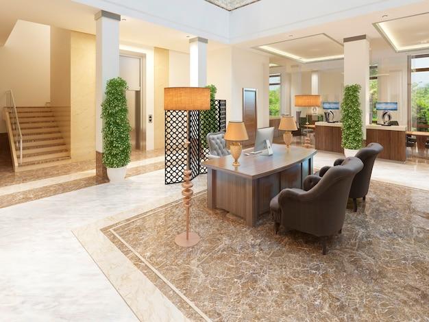 Gebied trappen en lift overdekte lounge van een duur hotel. 3d render.