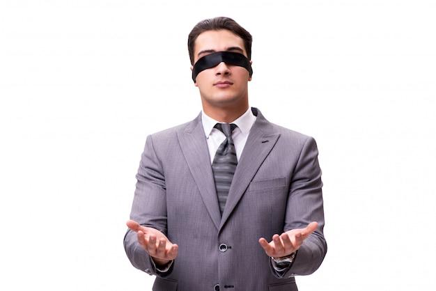 Geblinddochte zakenman die op wit wordt geïsoleerd