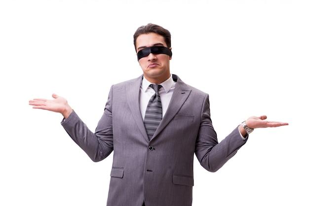 Geblinddoekte die zakenman op wit wordt geïsoleerd