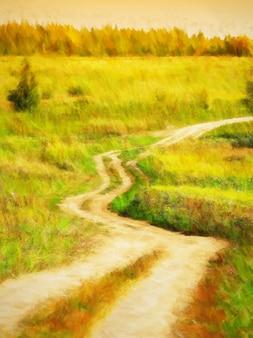 Gebogen en gedraaide landschapswegschildering