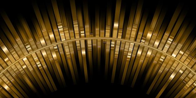 Gebogen gouden geluidsgolven equalizer gouden lichtstrepen muziek frequentiespectrum 3d illustratie