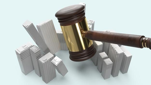 Gebouw en justitie hamer