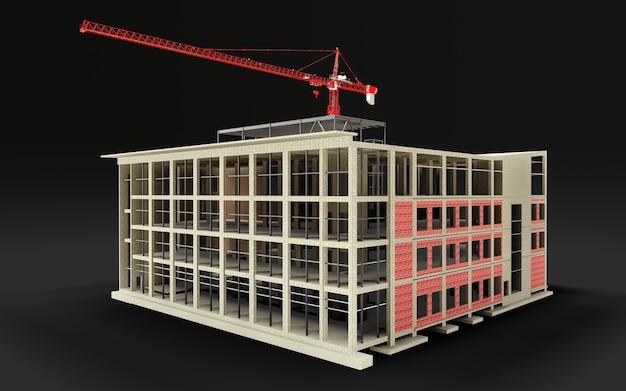 Gebouw in aanbouw 3d-model met een bouwkraan op een zwarte achtergrond. 3d-weergave.