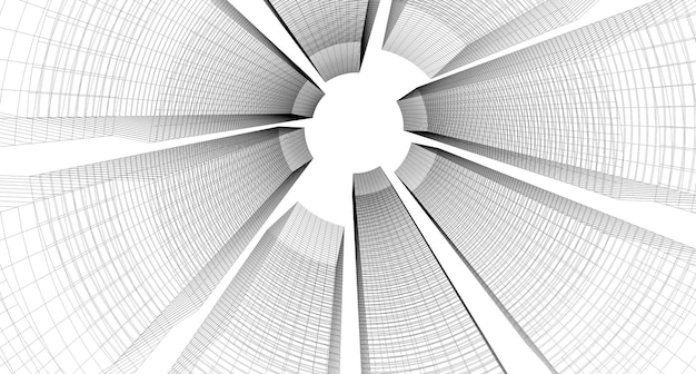 Gebouw schets architecturale 3d illustratie, architectuur gebouw perspectief lijnen