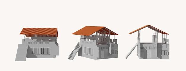 Gebouwd huis in aanbouw planning op wit. 3d-weergave