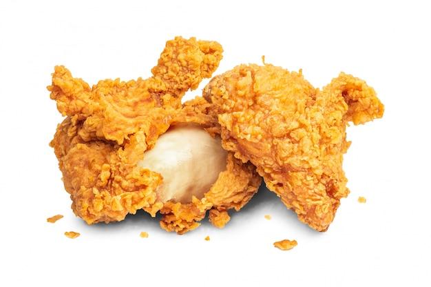 Gebraden kip die op witte achtergrond wordt geïsoleerd.