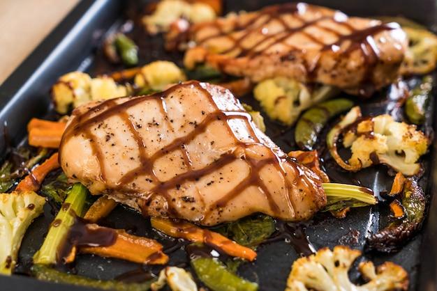 Gebraden kip met groente