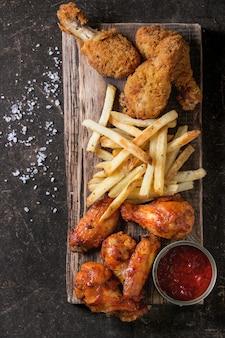 Gebraden kippenbenen met frieten