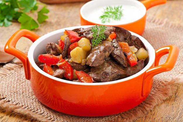 Gebraden kippenlever met groenten