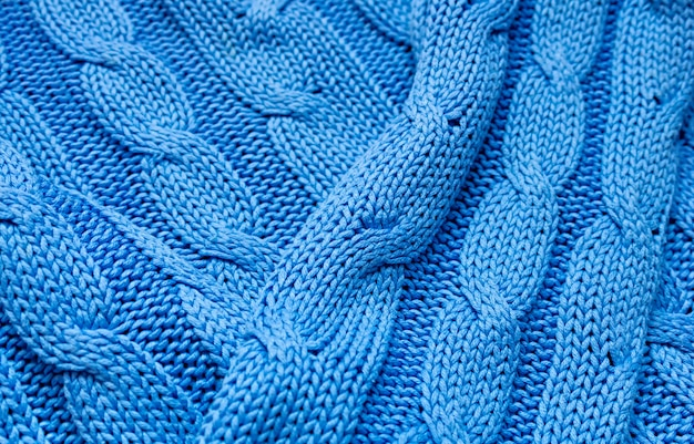 Gebreide textuur in blauw