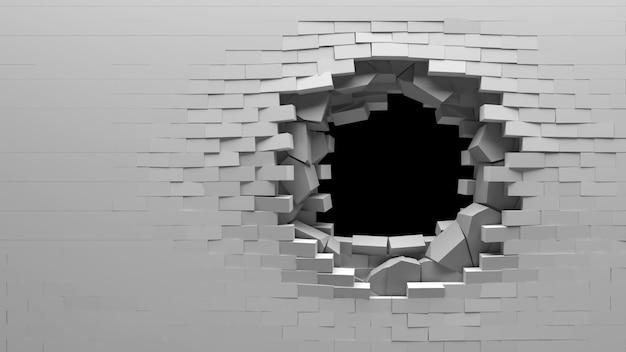 Gebroken bakstenen en betonnen muur met een gat