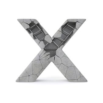 Gebroken betonnen alfabet x