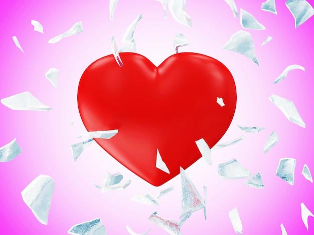 Gebroken bevroren rood hart met bewegingsonscherpte