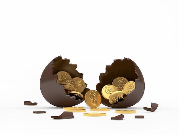 Gebroken chocolade-ei vol munten