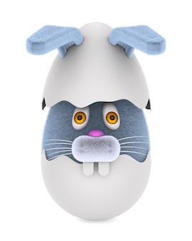 Gebroken ei en konijn op wit. geïsoleerde 3d-afbeelding
