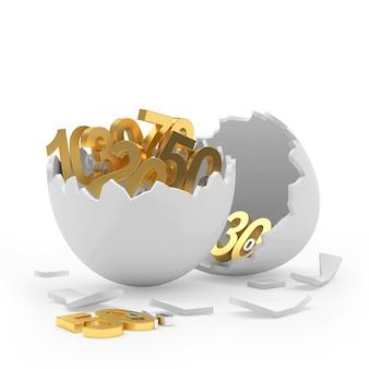 Gebroken ei vol met gouden procentuele kortingen