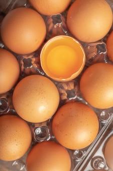 Gebroken eieren en dooier van kip in plastic doos