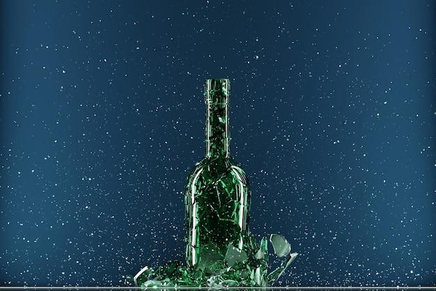 Gebroken fles geïsoleerd op blauwe achtergrond. 3d illustratie