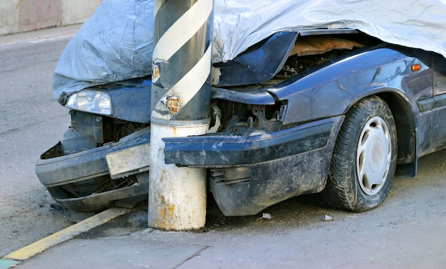 Gebroken gecrashte auto