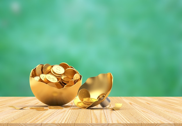 Gebroken gouden kerstbal vol munten op groen