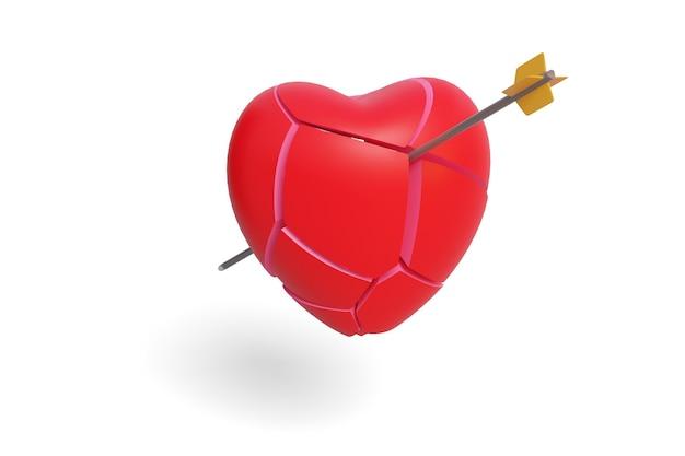 Gebroken hart met een vastgezette pijl geïsoleerd op een witte achtergrond. 3d-afbeelding.