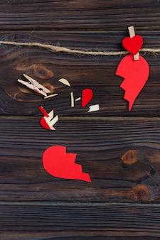Gebroken hart uiteenvallen collectie en echtscheiding.