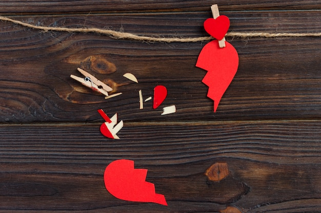 Gebroken hart uiteenvallen verzameling en echtscheiding pictogram.