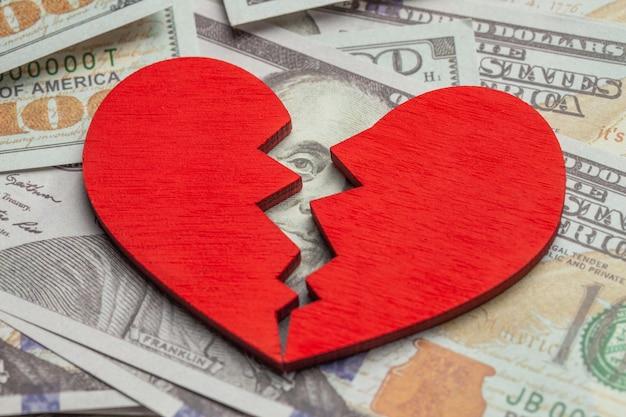 Gebroken hart vanwege geld