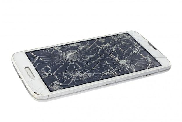 Gebroken smartphone die op wit wordt geïsoleerd