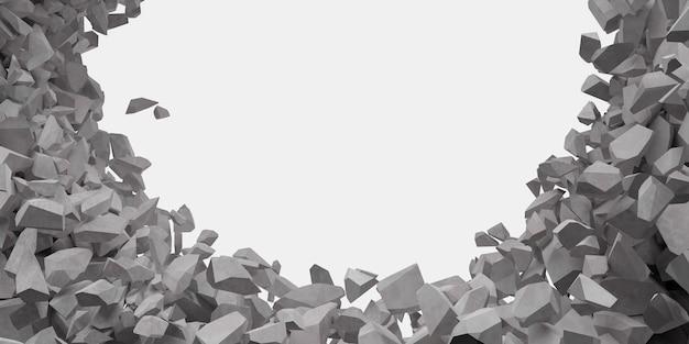 Gebroken witte muur met een gat in de 3d illustratie van het midden