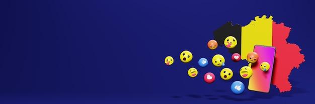 Gebruik emoticon in belgië voor de behoeften van sociale media-tv en website-achtergronddekking lege ruimte