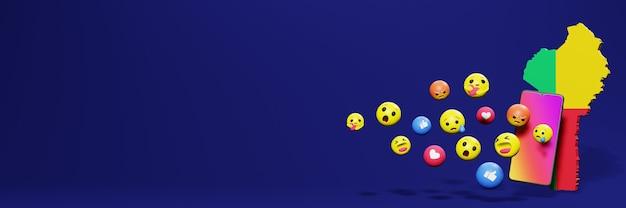 Gebruik emoticon in benin voor de behoeften van sociale media-tv en website-achtergronddekking lege ruimte