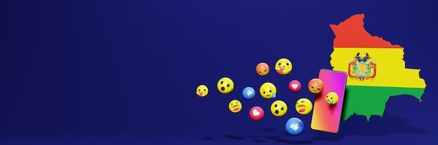 Gebruik emoticon in bolivia voor de behoeften van sociale media-tv en website-achtergronddekking lege ruimte