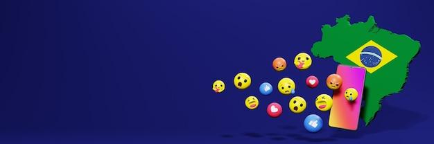 Gebruik emoticon in brazilië voor de behoeften van sociale media-tv en website-achtergronddekking lege ruimte