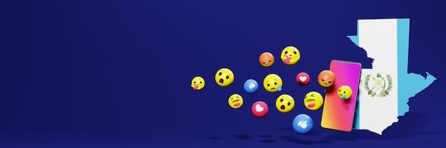 Gebruik emoticon in guatemala voor de behoeften van sociale media-tv en website-achtergronddekking lege ruimte