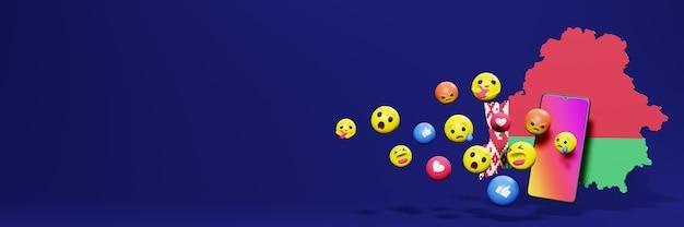 Gebruik emoticon in wit-rusland voor de behoeften van sociale media-tv en website-achtergronddekking lege ruimte