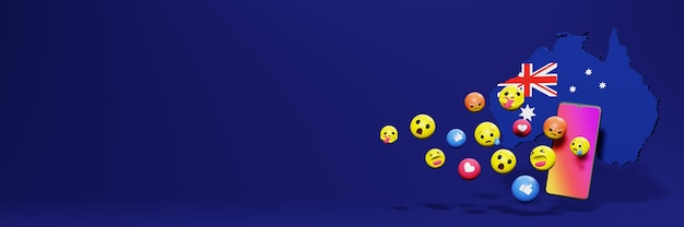 Gebruik emoticon of social media in australië voor de achtergrond van tv en website