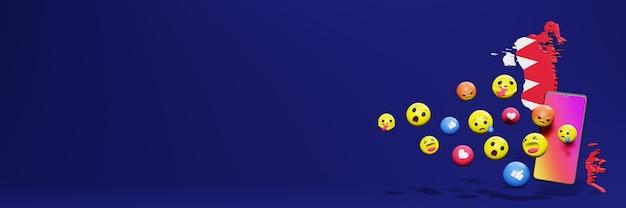 Gebruik emoticon of social media in bahrein voor de achtergrond van tv en website