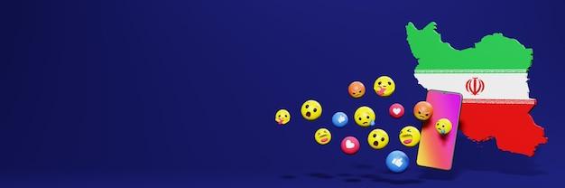 Gebruik emoticon of social media in iran voor de behoeften van sociale media-tv en website-achtergronddekking