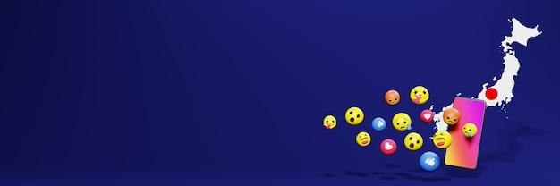 Gebruik emoticon of social media in japan voor de behoeften van sociale media-tv en website-achtergronddekking