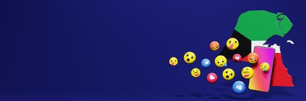 Gebruik emoticon of social media in koeweit voor de behoeften van sociale media-tv en website-achtergronddekking
