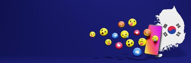 Gebruik emoticon of social media in korea voor de behoeften van sociale media-tv en website-achtergronddekking