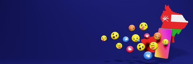 Gebruik emoticon of social media in oman voor de behoeften van sociale media-tv en website-achtergronddekking