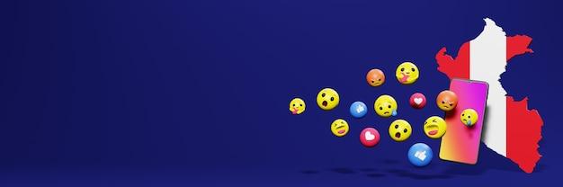 Gebruik emoticon of social media in peru voor de behoeften van sociale media-tv en website-achtergronddekking