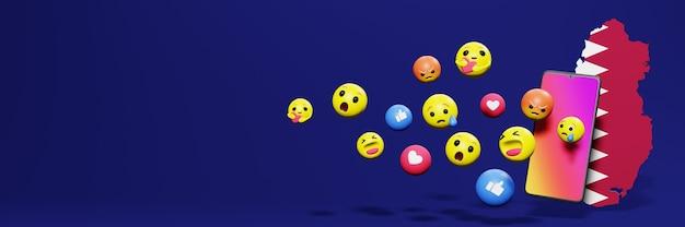 Gebruik emoticon of social media in qatar voor de behoeften van sociale media-tv en website-achtergronddekking