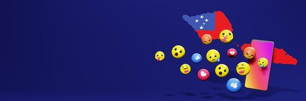 Gebruik emoticon of social media in samoa voor de behoeften van sociale media-tv en website-achtergronddekking