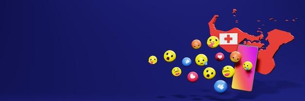 Gebruik emoticon of social media in tonga voor de behoeften van sociale media-tv en website-achtergronddekking