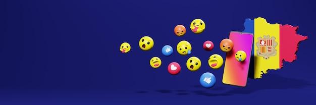 Gebruik emoticon van social media in andora voor de behoeften van tv en website-achtergronddekking lege ruimte