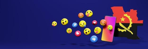 Gebruik emoticon van social media in angola voor de behoeften van tv en website-achtergronddekking lege ruimte