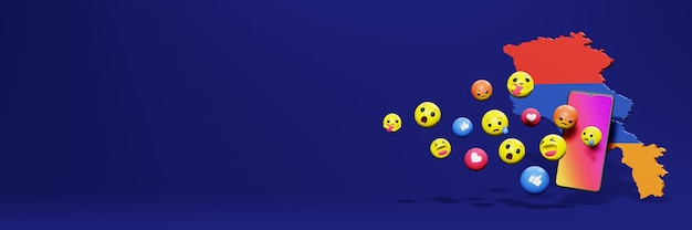 Gebruik emoticon van social media in armenië voor de behoeften van tv en website-achtergronddekking lege ruimte